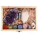 Juego de 11 cristales curativos, kit de piedras de chakras en caja de regalo, amatista natural,...